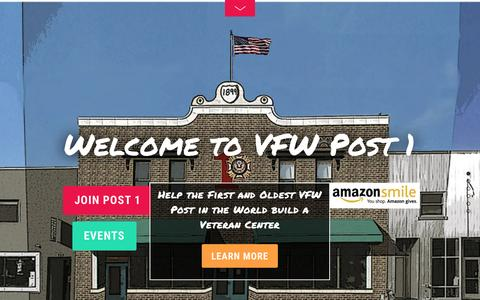 Screenshot of Home Page vfwpost1.org - The First Post - Denver | Veterans of Foreign Wars VFW Post 1 - captured June 21, 2015