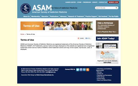 Screenshot of Terms Page asam.org - Terms of Use - captured Sept. 19, 2014
