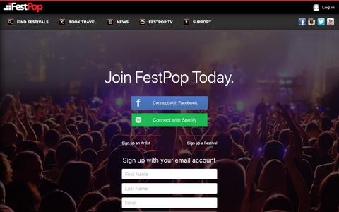 Screenshot of Signup Page festpop.com - The Easiest Way To Discover and Book New Music Festivals | Festpop - captured Oct. 10, 2018