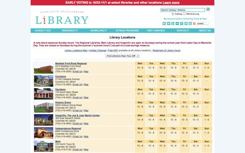 Screenshot of Locations Page cmlibrary.org - CMLibrary: Locations - captured Oct. 31, 2014