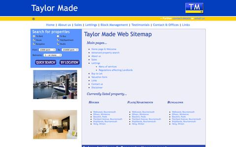 Screenshot of Site Map Page taylormadeuk.com - Taylor Made - Property Sales, Lettings & Property Management Specialist - captured Oct. 26, 2014