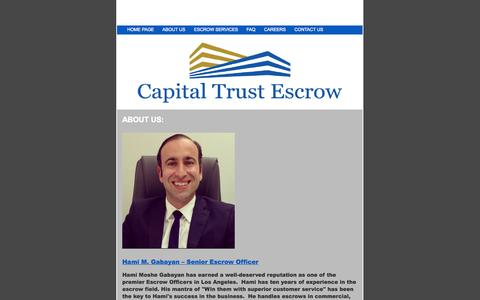 Screenshot of About Page capitaltrustescrow.com - Capital Trust Escrow - About Us - captured Sept. 30, 2014