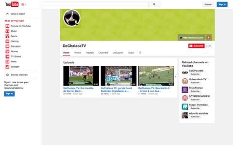 Screenshot of YouTube Page youtube.com - DeChalacaTV  - YouTube - captured Oct. 23, 2014