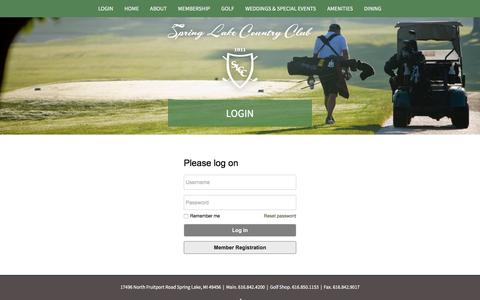 Screenshot of Login Page springlakecc.com - Spring Lake Country Club - Login - captured Dec. 1, 2016