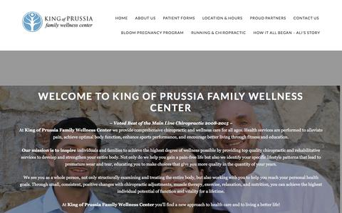 Screenshot of Home Page kopwellness.com - King of Prussia, PA Chiropractor - King of Prussia Family Wellness Center, PC - Chiropractic clinic in King of Prussia, PA - captured Feb. 12, 2016