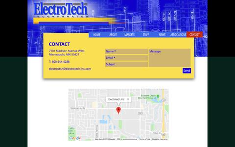 Screenshot of Contact Page electrotech-inc.com - Welcome to ElectroTech, Inc. | CONTACT - captured Sept. 24, 2018