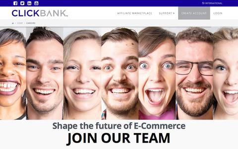 Screenshot of Jobs Page clickbank.com - Careers - ClickBank - captured June 6, 2018