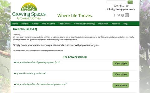 Screenshot of FAQ Page geodesic-greenhouse-kits.com - Greenhouse Information, Greenhouses Research, Geodesic Dome Greenhouses, Home Greenhouses - captured Feb. 2, 2016