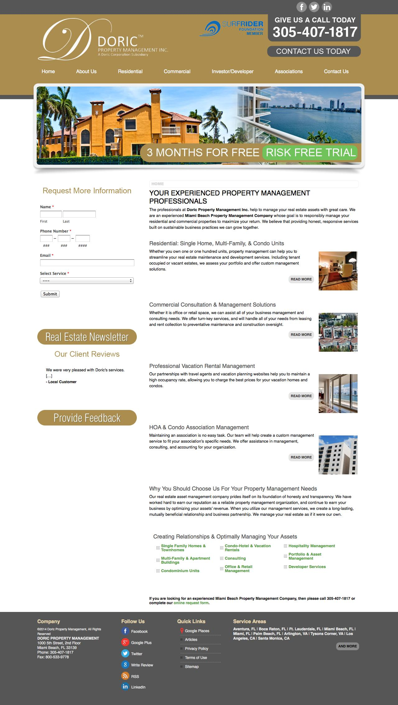 Screenshot of doricproperty.com - Property Manager Miami - Doric Property Management Miami Beach, FL 33139 - captured Oct. 5, 2014