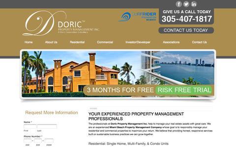Screenshot of Home Page doricproperty.com - Property Manager Miami - Doric Property Management Miami Beach, FL 33139 - captured Oct. 5, 2014