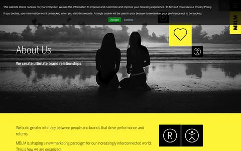 Screenshot of About Page mblm.com - About MBLM | Find out more about The Brand Intimacy Agency - captured Nov. 5, 2018
