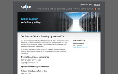 Screenshot of Support Page splicetelecom.com - Support | Splice - captured Oct. 9, 2014