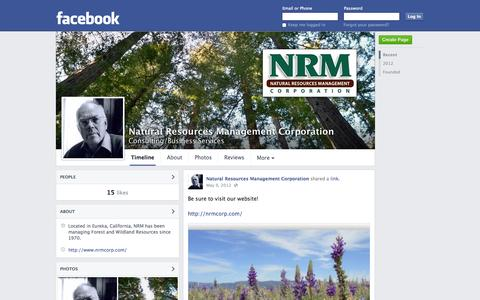 Screenshot of Facebook Page facebook.com - Natural Resources Management Corporation - Eureka, California - Consulting/Business Services | Facebook - captured Oct. 26, 2014