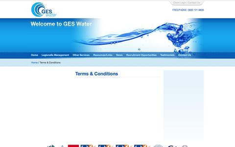 Screenshot of Terms Page ges-water.co.uk - Terms & Conditions - Legionella Control & Prevention - captured Sept. 26, 2014