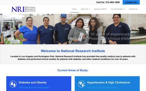 Screenshot of Home Page nriclinicalstudies.com - NRI   National Research Institute - captured Dec. 1, 2016