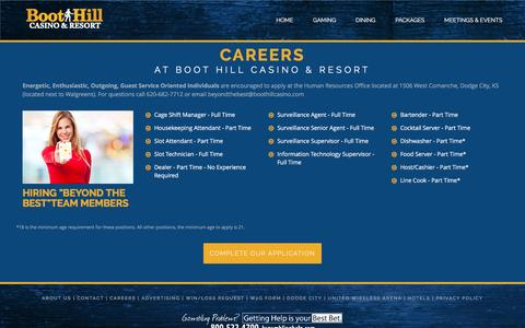 Screenshot of Jobs Page boothillcasino.com - Careers at BHCR - captured Nov. 23, 2016
