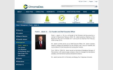 Screenshot of Team Page chromadex.com - Frank L. Jaksch Jr. - ChromaDex - captured Nov. 5, 2016