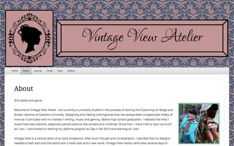 Screenshot of About Page vintageviewatelier.ca - About | Vintage View Atelier - captured Oct. 7, 2014