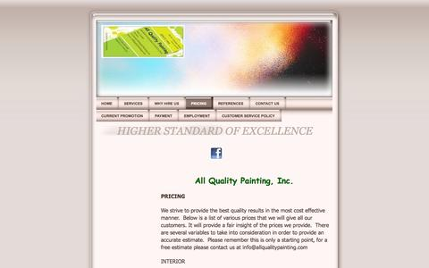 Screenshot of Pricing Page allqualitypainting.com - PRICING - All Quality Painting, Inc. - Professional Commercial, house, painter Dallas Fort Worth Texas - captured Oct. 4, 2014