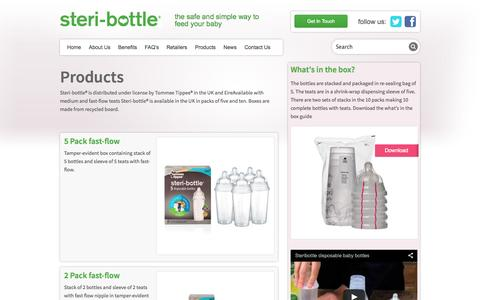 Screenshot of Products Page steribottle.com - Products - Steri-Bottle - captured Sept. 30, 2014