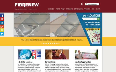 Screenshot of Home Page fibrenew.com - Fibrenew Leather Repair, Plastic, Vinyl, Fabric Restoration - captured Oct. 10, 2018