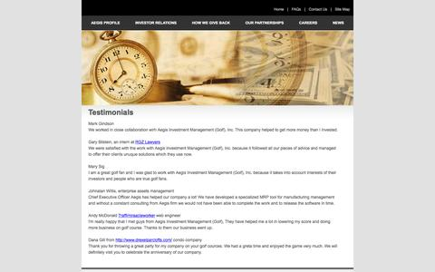 Screenshot of Testimonials Page aegisinvestmentmanagement.com - Testimonials | Aegisinvestmentmanagement.com - captured July 24, 2016
