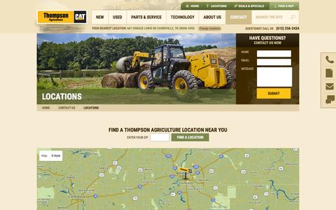 Screenshot of Locations Page thompsonagriculture.com - Locations - Thompson Agriculture - captured July 2, 2016