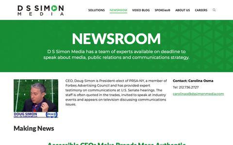 Screenshot of Press Page dssimon.com - NEWSROOM - D S Simon - captured Sept. 28, 2018