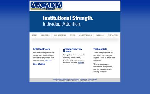 Screenshot of Case Studies Page teamkadent.com - Arcadia Recovery Bureau - Accounts Receivable Management - captured Oct. 6, 2014