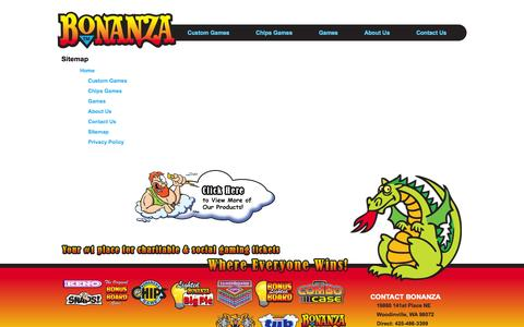 Screenshot of Site Map Page bonanzapress.com - Bonanza - Your #1 place for charitable & social gaming tickets where everyone Wins! - captured Oct. 5, 2014