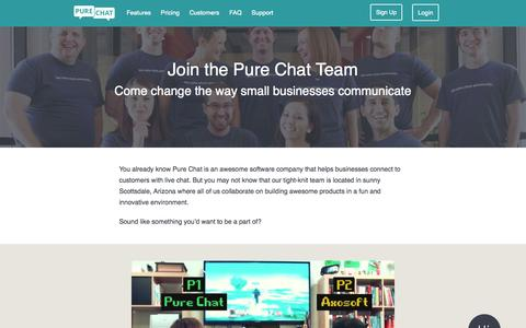 Screenshot of Jobs Page purechat.com - Free Live Chat Software for Websites | Careers - captured Nov. 5, 2015
