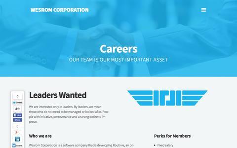Screenshot of Jobs Page wesrom.com - Careers | Wesrom - captured Nov. 3, 2014