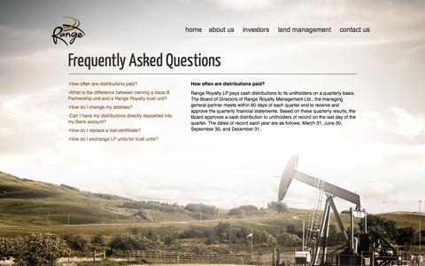 Screenshot of FAQ Page rangeroyalty.com - Frequently Asked Questions | Range Royalty Limited Partnership - captured Oct. 7, 2014