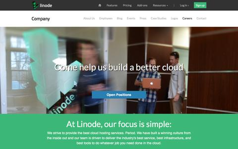 Screenshot of Jobs Page linode.com - Find a Career at Linode - Linode - captured Oct. 21, 2015