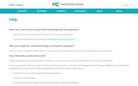 Screenshot of FAQ Page masschallenge.org - Basic page: About: FAQ | MassChallenge - captured May 17, 2018