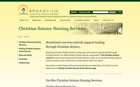 Screenshot of Services Page csbroadview.org - Services - captured Oct. 5, 2014