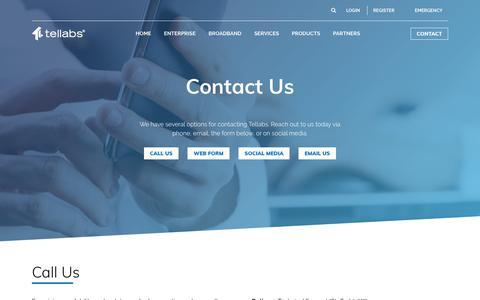 Screenshot of Contact Page tellabs.com - Contact Us | Tellabs - captured Oct. 13, 2019