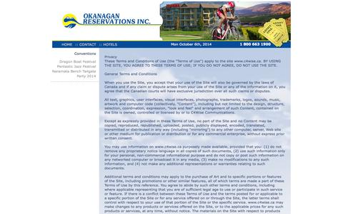 Screenshot of Privacy Page okres.bc.ca - :: Okanagan Reservations Inc. - Privacy :: - captured Oct. 6, 2014