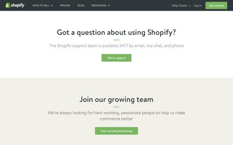 Screenshot of Contact Page shopify.com - Contact Us — Shopify - captured Aug. 12, 2016