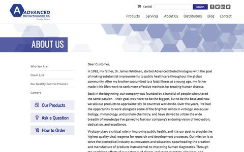 Screenshot of About Page abionline.com - Who We Are | Advanced Biotechnologies | Your Viral Reagent Company - captured Sept. 26, 2018