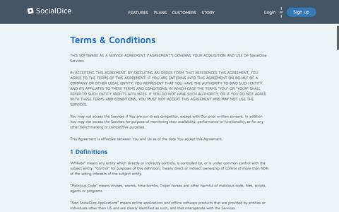 Screenshot of Terms Page socialdice.net - SocialDice Terms&Conditions - captured Feb. 25, 2016