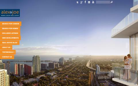 Screenshot of Home Page alexandjoe.com - South Beach Real Estate, Miami Real Estate and Miami Beach Luxury Condos by The Alex & Joe Team - captured Oct. 8, 2014