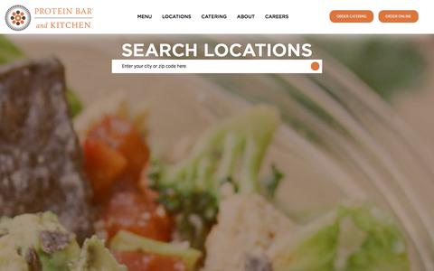 Screenshot of Locations Page theproteinbar.com - The Protein Bar | Healthy, Fast Dining in Chicago, D.C., Boulder and Denver | Protein Bar Locations - captured Feb. 19, 2018
