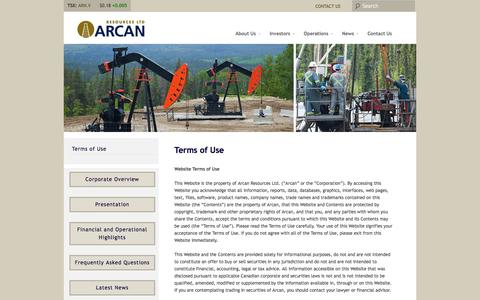 Screenshot of Terms Page arcanres.com - Terms of Use | Arcan Resources Ltd. - captured Oct. 4, 2014