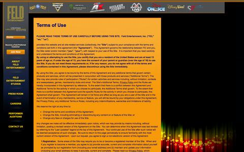 Screenshot of Terms Page feldentertainment.com - Terms of Use - captured Aug. 3, 2016