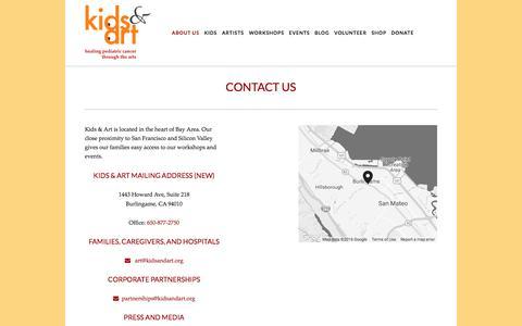 Screenshot of Contact Page kidsandart.org - Contact Us — Kids and Art Foundation - captured Nov. 27, 2016