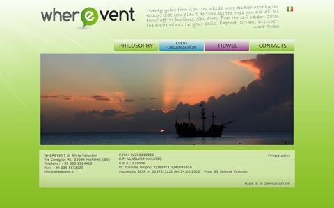 Screenshot of Home Page wherevent.it - WherEvent  | Viaggi ed organizzazione eventi - captured Oct. 7, 2014