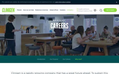 Screenshot of Jobs Page clinigengroup.com - Careers | Clinigen - captured July 19, 2018