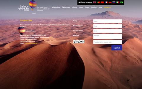 Screenshot of Contact Page ballooning.ae - Contact Balloon Adventures Emirates, Contact Best Balloon Company in Dubai: Ballooning.ae - captured Sept. 23, 2014