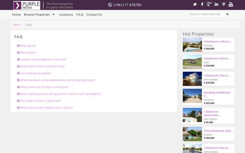 Screenshot of FAQ Page purplemena.com - F.A.Q - captured Sept. 30, 2014